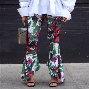 Pants - Tropical print trousers